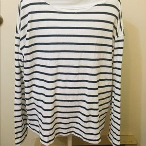 J. Crew White and Black Striped Long Sleeve Top